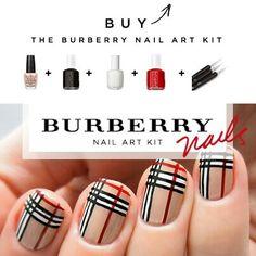 Burberry Fancy Nails, Love Nails, How To Do Nails, Garra, Christmas Nail Designs, Christmas Nails, Gorgeous Nails, Pretty Nails, Burberry Nails