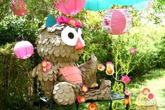 Pinata at a Girly Owl Party via Kara's Party Ideas | Kara'sPartyIdeas.com #Girl #Owl #Woodland #PartyIdeas #Supplies #pinata