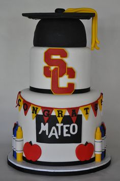 kid graduation cakes | usc graduation cake fun cake i did a few weeks ago the bottom tier was ...