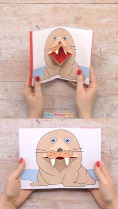Walrus Pop Up Card Template - - Walrus Pop Up Card Template Easy Peasy and Fun Learn how to use our Walrus Pop Up Card Template to make the coolest walrus pop up card ever. Summer Arts And Crafts, Arts And Crafts For Teens, Art And Craft Videos, Arts And Crafts House, Arts And Crafts Projects, Art For Kids, Kids Crafts, Toddler Crafts, Pop Up Card Templates