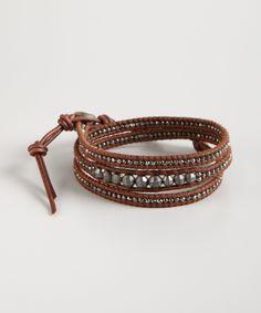 Leather and gunmetal stone wrap Bracelet - so amazing!