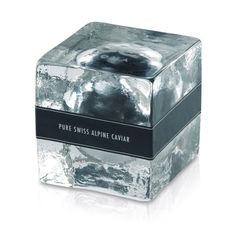 Swiss Alpine caviar packaging that looks like an ice cube to convey the feeling of freshness. So cool!