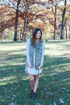 Faux Fur Vest Taupe Swing Dress with Brown Booties. Fall Fashion   MaryssaAlbert.com
