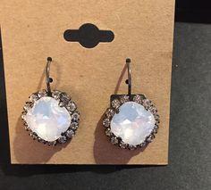 White Opal Cushion Cut 12 mm Halo Drop Earrings by PrettyInCrystal