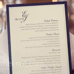 Formal cards finished with the couple's monogram logo listed the menu.