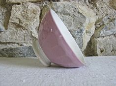 French cafe au lait bowl  shabby pale pink faience by Histoires #histoires