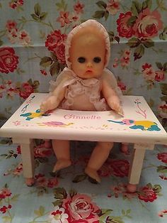 """Vintage Vogue 8"""" Baby GINNETTE DOLL Vinyl with Wood Play Chair / Seat  w/ outfit"""