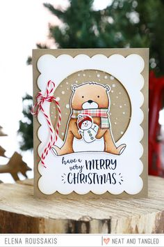 Neat and Tangled: October 2016 Release Day Little Baby Jesus + Beary Merry + Giveaway! Very Merry Christmas, Christmas Tag, Handmade Christmas, Xmas Cards, Holiday Cards, Neat And Tangled, Christmas Drawing, Winter Cards, Card Making Inspiration