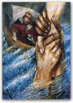 "Art: Sieger Köder.  Matthew 14:  ""Lord, if it's you,"" Peter replied, ""tell me to come to you on the water."" ""Come,"" he said. Then Peter got down out of the boat, walked on the water and came toward Jesus. But when he saw the wind, he was afraid and, beginning to sink, cried out, ""Lord, save me! Immediately Jesus reached out his hand and caught him. ""You of little faith,"" he said, ""why did you doubt?"""