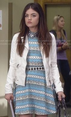 Aria's turquoise blue zig zag print dress on Pretty Little Liars.  Outfit Details: http://wornontv.net/26384/ #PrettyLittleLiars