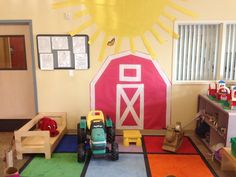 Farm Dramatic Play Area-we made a fence to block in the area, brought in farm toys and puzzles, and also stuffed animals