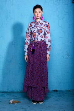 suno 2012 printed full length skirt and floral top