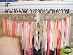 Emerson Grey Designs : Nursery Interior Designer: DIY ribbon swag garland {coral, peach and gold} Coral Baby Showers, Grey Baby Shower, Girl Shower, Coral Baby Shower Decorations, Baby Decor, Diy Ribbon, Ribbon Garland, Diy Garland, Fabric Ribbon