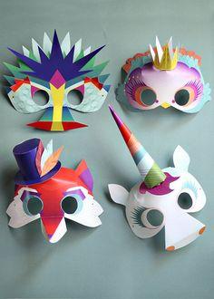 Printable Paper Masks - Set of 4 - Dragon Unicorn Fox and Princess Bird (10.00 USD) by Smallful