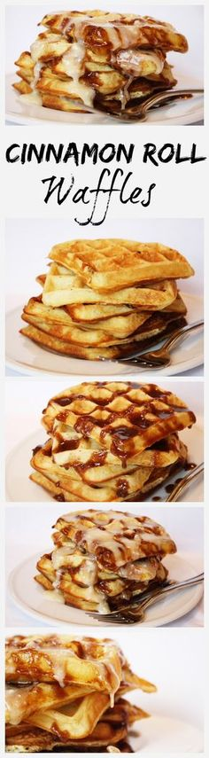 Cinnamon Roll Waffles recipe - Best weekend breakfast ever! - from RecipeGirl.com