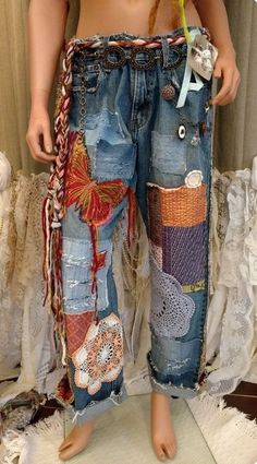0c1f5686 Denim Jeans, Ripped Jeans, Upcycling Clothing, Women's, Tattered Jeans,  Shredded Jeans