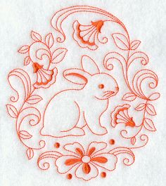 Bunny in Flowers Circle (Redwork)