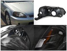 Spec-D Tuning 2LH-CV99JM-RS Civic JDM Black OEM Fit Crystal Head Lights Signal Pair