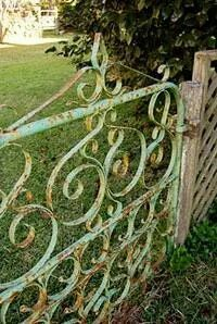 I would love to have this as the gate for a small backyard garden. I would paint it a lilac color. - Garden and Home Old Gates, Garden Gates And Fencing, Garden Doors, Fence Gate, Iron Gates, Patio Doors, Metal Gates, Small Backyard Gardens, Backyard Garden Design