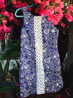 Lilly for Target blue and white shift dress