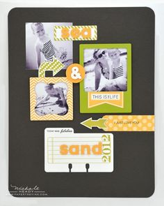 Sea & Sand Scrapbook Page by Nichole Heady for Papertrey Ink (July 2012). Like the colors - dark grey, summer sunrise, simply chartreuse.