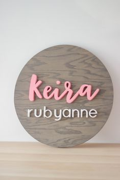 Grey and Pink Nursery Name Wood Sign by Wellwood Design for a baby girl nursery. Nursery Name, Nursery Signs, Girl Nursery, Nursery Decor, Gorgeous Girl Names, Fantasy Character Names, Baby Shower Gifts, Baby Gifts, Middle Names For Girls