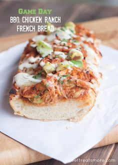 BBQ Chicken Ranch French Bread - Football Watching Tailgate Party snack
