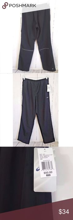 "NWT Asics Mens Runing Pants NWT Asics Men's Breathable Large Waterproof Running Pants  Black  Reflective 112  Measurements Approx: Waist:15"" Inseam:32"" Asics Pants Sweatpants & Joggers"