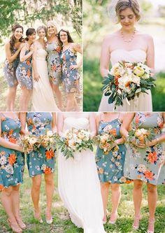 Vestidos Florais e Estampados Estes vêm aparecendo cada vez com mais frequência em casamentos ao ar livre. Também pode haver uma combinação prévia entre as madrinhas compondo um lindo visual!