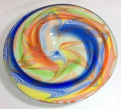 Blue Orange Green Yellow Swirled Art Glass Console Bowl Handmade Murano-Style