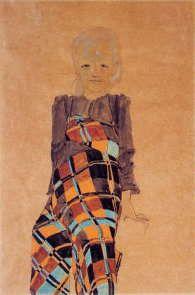 エゴン・シーレ 「座っている少女 」  1910 |  ブダペスト国立美術館