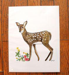 flowers and fawn illustration, deer illustration, deer cards