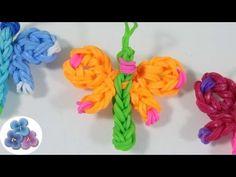 Como Hacer una Libelula de Gomitas sin Telar Rainbow Loom video Tutorial DIY español Pintura Facil