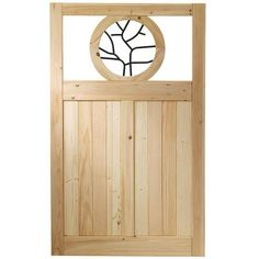 3.5 Ft. X 6 Ft. Cedar Fence Gate With Round Metal Art Insert