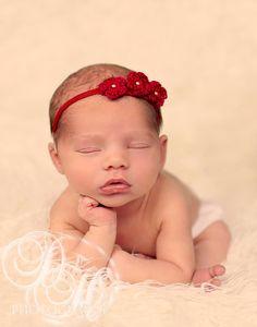 Red Baby Headband Baby Crochet Headband Newborn by BabyGraceHats, $12.00