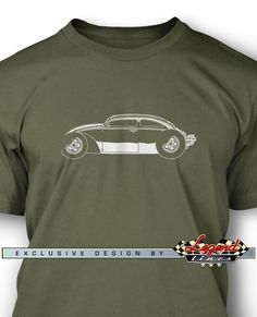 "Volkswagen Beetle ""VolksRod"" T-Shirt - Side View - A game of subtle lights and shadows reveal the magnificent curves of the body of the Volkswagen Beetle VolksRod, a Legendary German Automobile. Detailed and harmonious, the artistic illustration has grabbed the essence of one of the most influential vehicle of the 20th century and is printed in front of the tee. Refine and stylish, it is a perfect wear for any occasion and to show your passion for a true Legend that lives forever!"