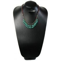 Collar de Moda con Perla, Turquesa y Piel Sintética
