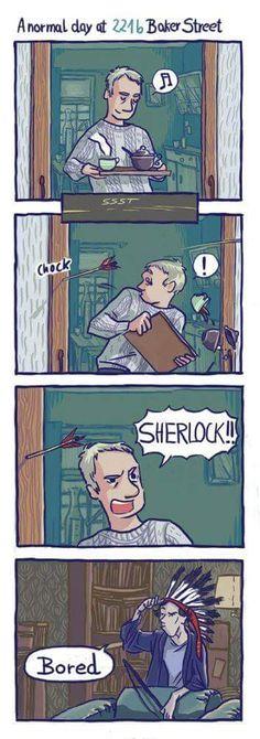 "Sherlock - ""A normal day at Baker Street"" Sherlock Bbc, Sherlock Fandom, Fan Art Sherlock, Sherlock Bored, Sherlock Humor, Sherlock Holmes Funny, Sherlock Anime, Sherlock Poster, Sherlock Season"