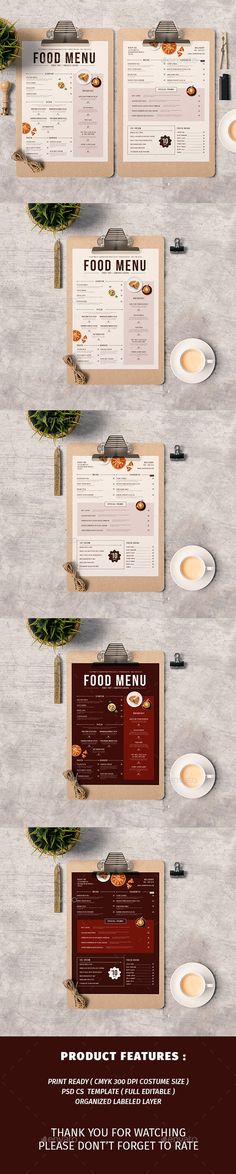 Modern Food Menu Template PSD もっと見る