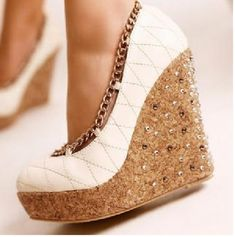 Shoes: white, wedges, chain, cute, white wedges bronze link ...