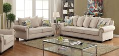 Nailhead Trim. Emerson 2pc Sofa Set (Sofa & Loveseat) Only. Enjoy the cozy feel of this lavish sofa set with its warm and inviting design. The padded chenille fabric brightens any room with its ivory coloring and comes paired with gorgeous accent pillows. | eBay!