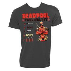 Deadpool Charcoal Survival Kit Tee Shirt