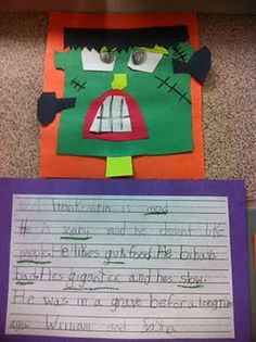 Frankenstein Craft & Sentences with Adjectives (modify: collaborative craft & students dictate descriptions for teacher to write)