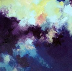 Night sky - original abstract painting 8x8x2 inch on Etsy, $68.00
