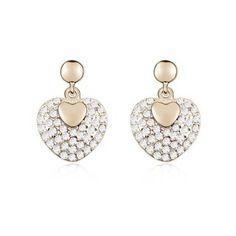 Boucles d'oreilles en Cristal (Cœur)  Description : Boucles d'oreilles adorables sous forme de cœur, en alliage plaqué or, serties des cristaux transparents. La combinaison de la forme de cœur et l'éclat de cristaux vous donne une impression romantique.