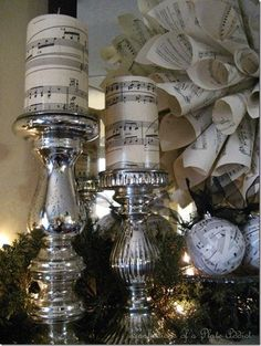 Pottery Barn Inspired Music Candles, Sheet Music Wreath and Ornaments