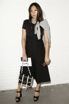 Jen Brill carrying the Hava Bag at the Proenza Schouler Spring 2017 Ready-to-Wear Fashion Show Front Row