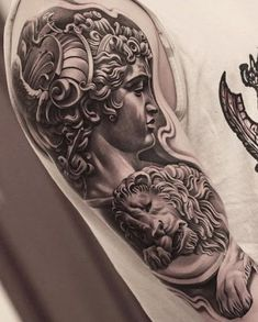 hyper-realistic tattoo by Jun Cha Juncha Tattoo, Zeus Tattoo, Statue Tattoo, Tattoo Drawings, Great Tattoos, Word Tattoos, Body Art Tattoos, Tattoos For Guys, Tatoos