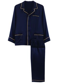 Silk men nightwear pajamas--Black-Blue pajamas #Silk #pajamas