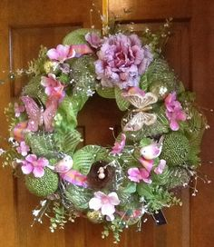 A Wreath for Summer Spring or Easter by HertasWreaths on Etsy, $125.00